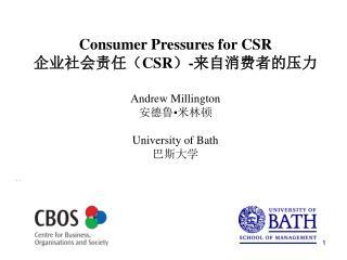 Consumer Pressures for CSR 企业社会责任( CSR ) - 来自消费者的压力 Andrew Millington 安德鲁 • 米林顿