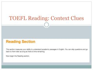 TOEFL Reading: Context Clues