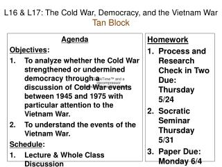 L16 & L17: The Cold War, Democracy, and the Vietnam War Tan Block