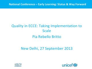 National Conference – Early Learning: Status & Way Forward