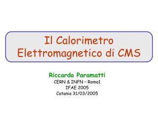 Riccardo Paramatti CERN &  INFN  – Roma1 IFAE 2005 Catania 31/03/2005
