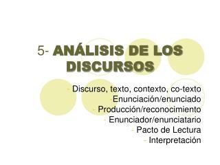 5-  AN�LISIS DE LOS DISCURSOS
