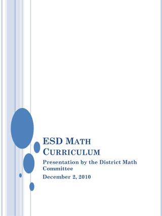 ESD Math Curriculum