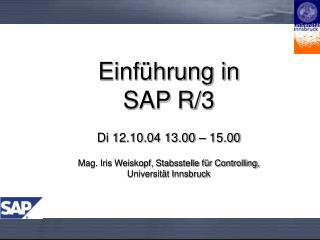 Einf hrung in  SAP R