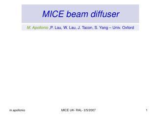 MICE beam diffuser
