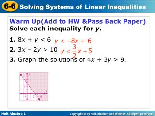 Warm Up(Add to HW &Pass Back Paper) Solve each inequality for  y . 1. 8 x + y  < 6