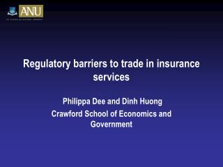 Regulatory barriers to trade in insurance services