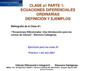CLASE a1 PARTE 1:   ECUACIONES DIFERENCIALES ORDINARIAS DEFINICIÓN Y EJEMPLOS
