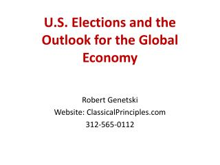 U.S. Elections and the Outlook for the Global Economy