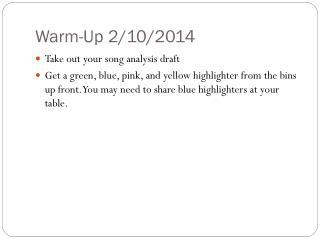 Warm-Up 2/10/2014