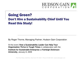 Going Green? Don't Hire a Sustainability Chief Until You Read this Study!
