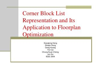 Corner Block List Representation and Its Application to Floorplan Optimization