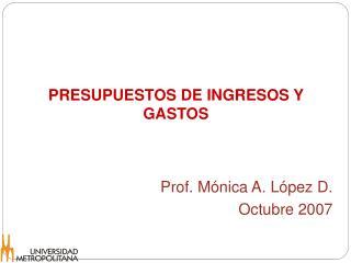 PRESUPUESTOS DE INGRESOS Y GASTOS