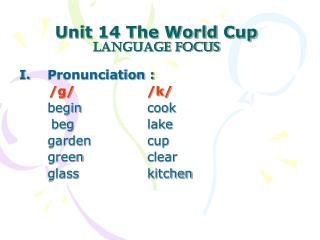 Unit 14 The World Cup Language focus