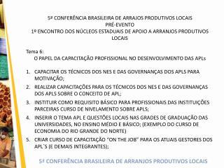 5� CONFER�NCIA BRASILEIRA DE ARRAJOS PRODUTIVOS LOCAIS PR�-EVENTO