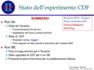 Stato dell'esperimento CDF