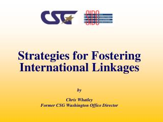 Strategies for Fostering International Linkages by Chris Whatley
