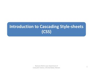 Understand the basic concept of CSS