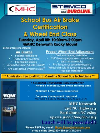 MHC  Kenworth 7418 NC Highway 4 Battleboro , NC 27809 252/212-5600 / 800/880-2364