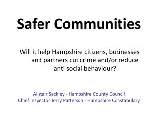 Safer Communities