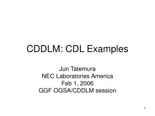 CDDLM: CDL Examples