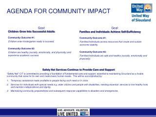 AGENDA FOR COMMUNITY IMPACT