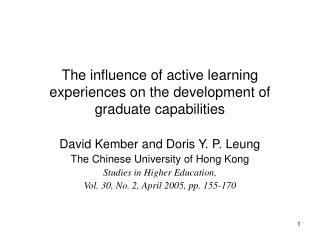 The influence of active learning experiences on the development of graduate capabilities