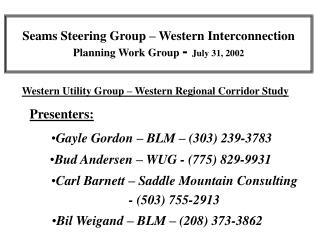 Seams Steering Group � Western Interconnection Planning Work Group  -  July 31, 2002