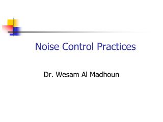 Noise Control Practices