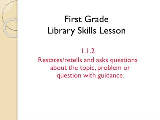 First Grade Library Skills Lesson