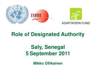 Designated Authority DA is: