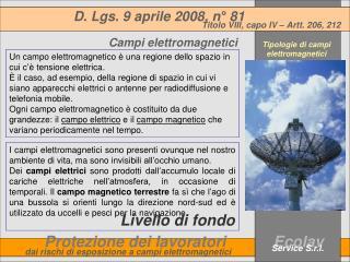 Tipologie di campi elettromagnetici