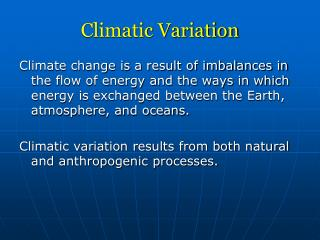 Climatic Variation