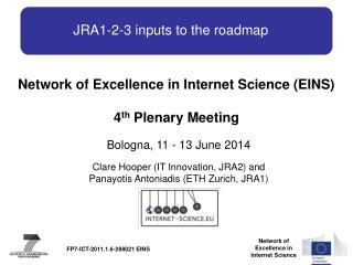 JRA1-2-3 inputs to  the roadmap
