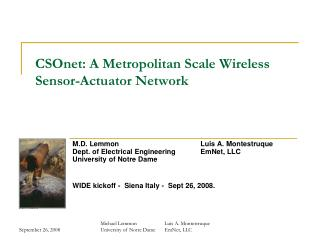CSOnet: A Metropolitan Scale Wireless Sensor-Actuator Network