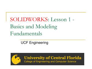 SOLIDWORKS : Lesson 1 - Basics and Modeling Fundamentals