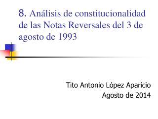 8.  Análisis de constitucionalidad de las Notas Reversales del 3 de agosto de 1993