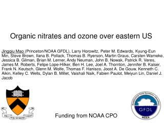 Organic nitrates and ozone over eastern US