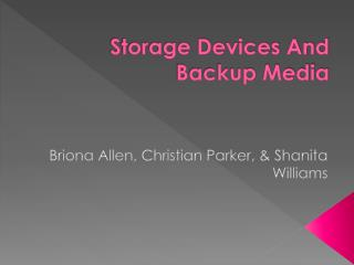 Storage Devices And Backup Media