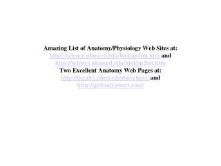 Amazing List of Anatomy