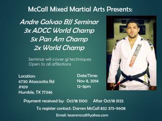 McCall Mixed Martial Arts Presents: