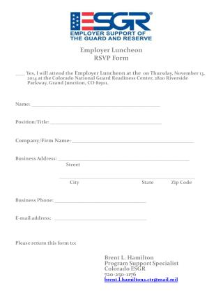 Employer Luncheon  RSVP Form