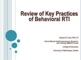 Review of Key Practices of Behavioral RTI
