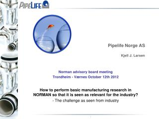 Pipelife  Norge AS Kjell J. Larsen