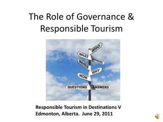 The Role of Governance &  Responsible Tourism