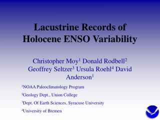 Lacustrine Records of Holocene ENSO Variability
