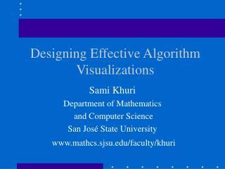 Designing Effective Algorithm Visualizations