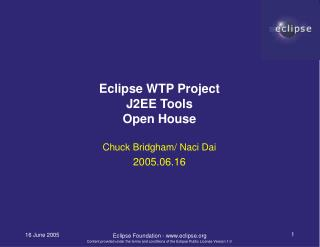 Eclipse WTP Project J2EE Tools Open House