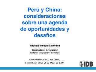 Perú y China:  consideraciones sobre una agenda de oportunidades y desafíos