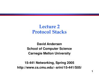 Lecture 2 Protocol Stacks